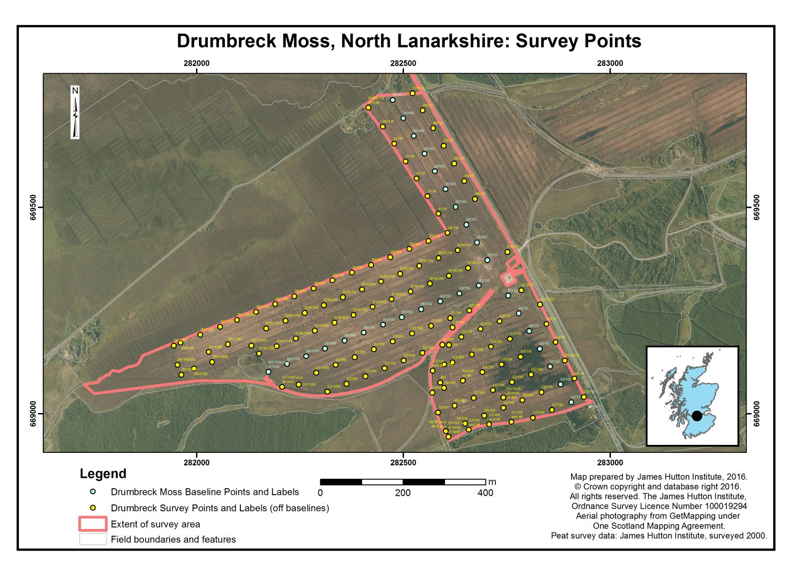 Peat Surveys Drumbreck Moss Natural Resource Datasets The James 282500 North Lanarkshire Survey Points Scottish Sites