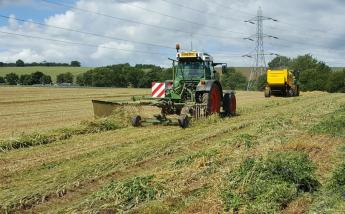 Baling wheat and bean plant team on a farm (c) James Hutton Institute
