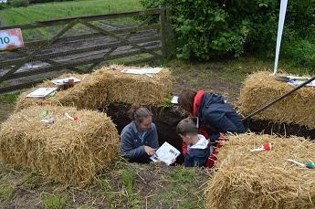 Children exploring our soil pit at Open Farm Sunday 2017