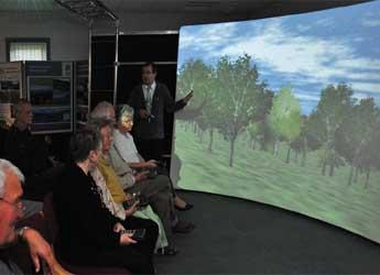 Virtual Landscape Theatre showing a simulated woodland