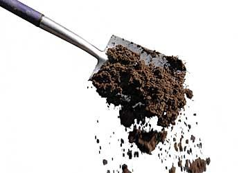 Soil being tipped off a spade