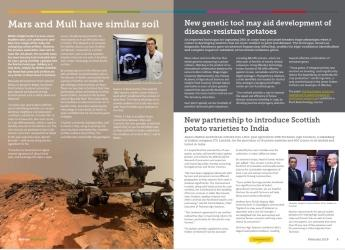 Screenshot of Hutton Highlights, February 2019 issue (c) James Hutton Institute
