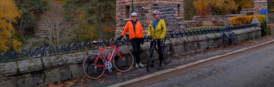 Rachel Helliwell and Marc Stutter cycled along part of the course of the Dee