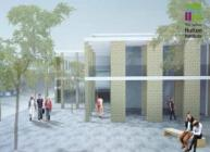 Projected concept of entrance courtyard, IBH building, Invergowrie