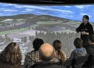 Photograph of the Virtual Landscape Theatre in action