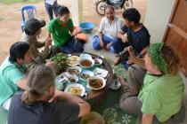 Shared lunch – including fungi – with our local guide and his family