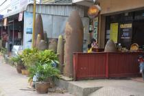 Old bomb casings on display outside Craters café