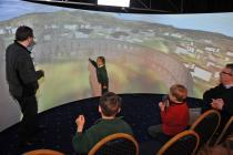 Young Oban resident describing McCaigs Tower in VLT virtual relity model