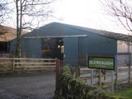 Barn at Glensaugh and signpost