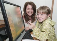 Heather Reid and budding TV weather forecaster 7 year-old Rebecca Cruickshanks