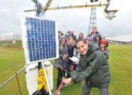 BBC weatherman Stav Danaos at the rain-soaked James Hutton Institute met site