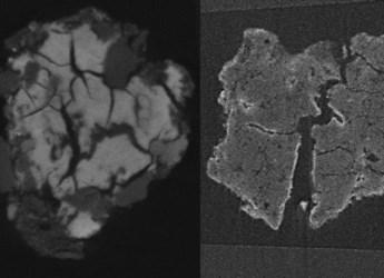 Post-blast aggregates showing large cracks
