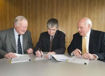 Photograph of (left to right) Michael Gibson, Ray Perman and Peter Berry