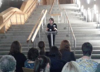 Dr Lee-Ann Sutherland speaking at Scottish Parliament (c) James Hutton Inst