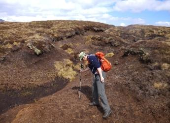 Erosion gullies in peat can be as deep as a person is tall