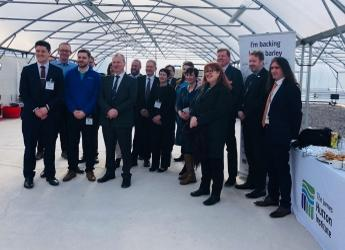 Delegates of the Scottish Affairs Select Committee meeting at Hutton Dundee site