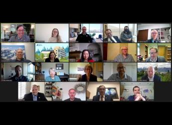 Screenshot of virtual USU-Hutton partnership signing ceremony
