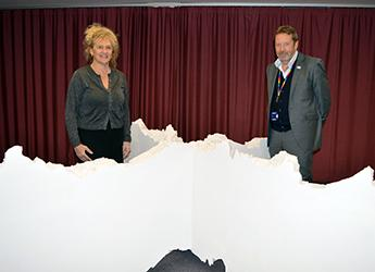 Scottish artist Annie Cattrell with Professor Colin Campbell, Chief Executive of