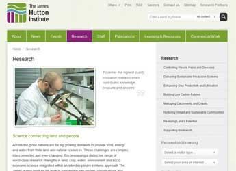 Screengrab image of The James Hutton Institute website