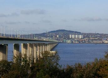 Looking across Tay Road Bridge towards Dundee City