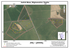 Awhirk Moss, Wigtownshire: Depths; Scottish Peat Survey sites, Scottish Peat Committee and Macaulay Institute for Soil Research