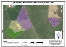 Awhirk Moss, Wigtownshire: Peat condition or vegetation status 1961; Macaulay Institute;