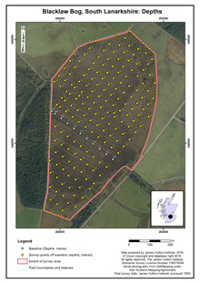Blacklaw Bog, South Lanarkshire: Depths; Scottish peat survey sites: Scottish Peat Committee and Macaulay Institute (peat depth, surface and volume)