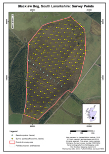 Blacklaw Bogs, South Lanarkshire: Survey points; Scottish peat survey sites: Scottish Peat Committee and Macaulay Institute (peat depth, surface and volume)