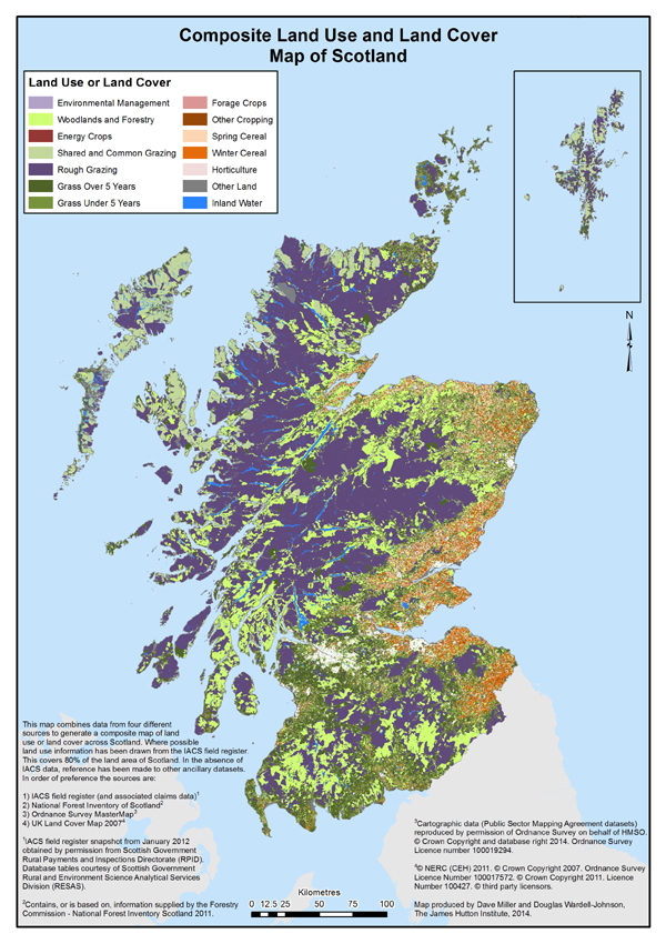 Land cover and use for Scotland: combining IACS, Forest inventory and LCS88
