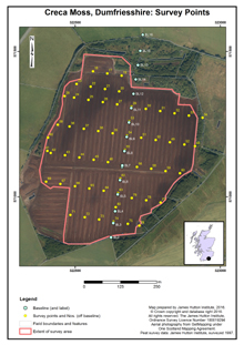 Creca Moss (1997): Survey Points; Scottish Peat Survey sites, Scottish Peat Committee and Macaulay Institute for Soil Research