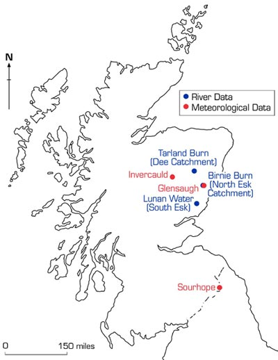 Map of Scotland showing ECN monitoring sites