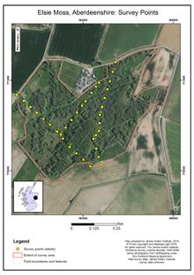 Elsie Moss, Aberdeenshire: Survey points; Scottish peat survey sites: Scottish Peat Committee and Macaulay Institute (peat depth, surface and volume)