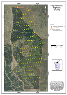 Fiag Plantation: Depths; Highland; Scottish peat survey sites: Scottish Peat Committee and Macaulay Institute (peat depth, surface and volume)