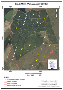 Knock Moss, Wigtownshire: Depths; Scottish peat survey sites: Scottish Peat Committee and Macaulay Institute (peat depth, surface and volume)