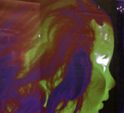 Projected thermal image of a child's face at Open Farm Sunday