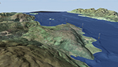 Visualization of land and sea bed showing valleys and moraines