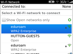Install Eduroam on a Blackberry step four