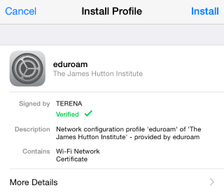 Install eduroam on iOS (Install Profile)