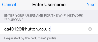 Install eduroam on iOS (Enter your username)