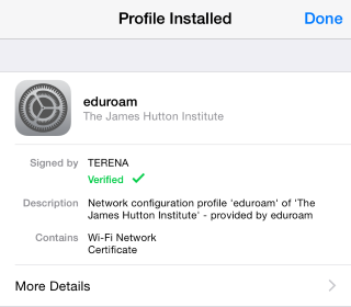 Install eduroam on iOS (Profile Installed)