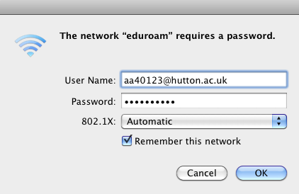 Install Eduroam on a Mac OS X computer step four