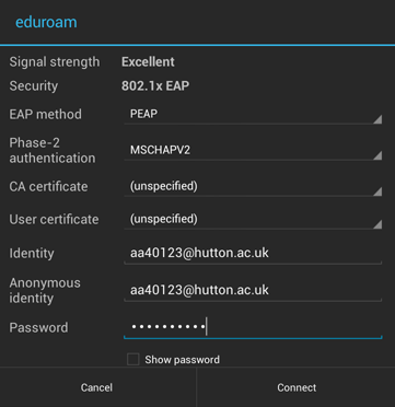Install Eduroam on an Android device step three
