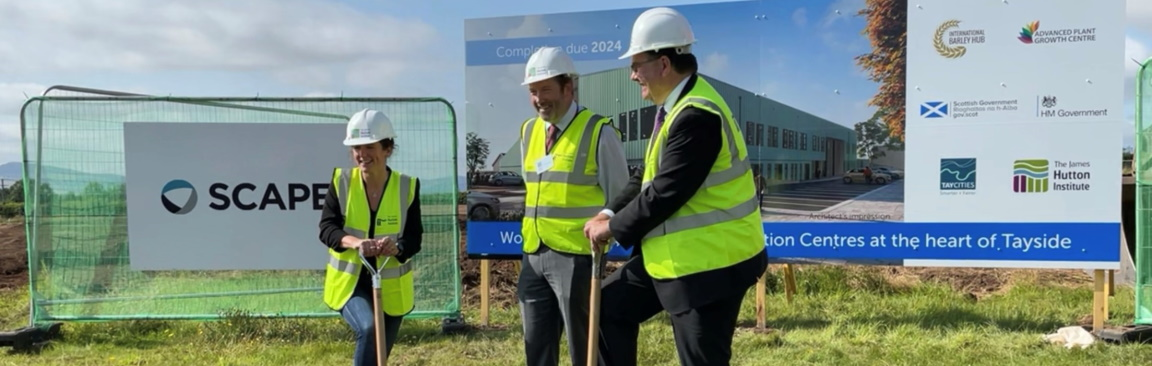 Ground breaking: Mairi Gougeon MSP, Prof Colin Campbell and Iain Stewart MP