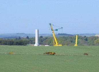 Construction of the Udny community wind turbine in 2011