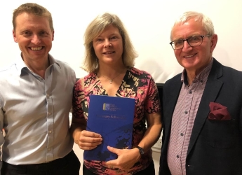 L-R: Mike Robinson (RSGS CEO), Alison Hester, Roger Crofts (RSGS chair)