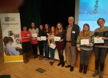 Winners of the Hutton PhD event 2020 alongside judging panel members