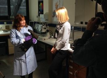 Professor Lorna Dawson speaks to presenter Gabriel Weston (c) JHI