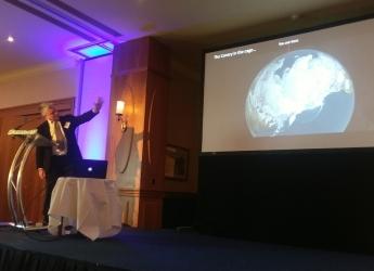 Dr Mike Rivington speaks at Farming Scotland conference (photo Farming Scotland)