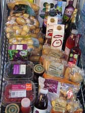 Photograph of goods in supermarket trolley