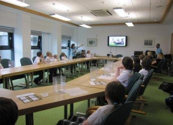 RGC pupils listening to Lorna Dawson talk about soils in Scotland